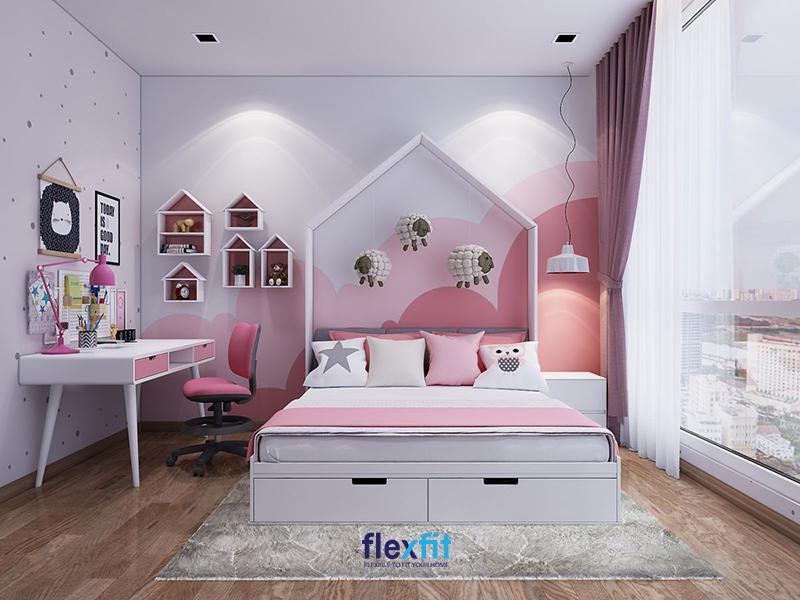 Các họa tiết trang trí, các kệ gắn tường được thiết kế độc đáo, giúp không gian trở nên đáng yêu và nữ tính hơn.