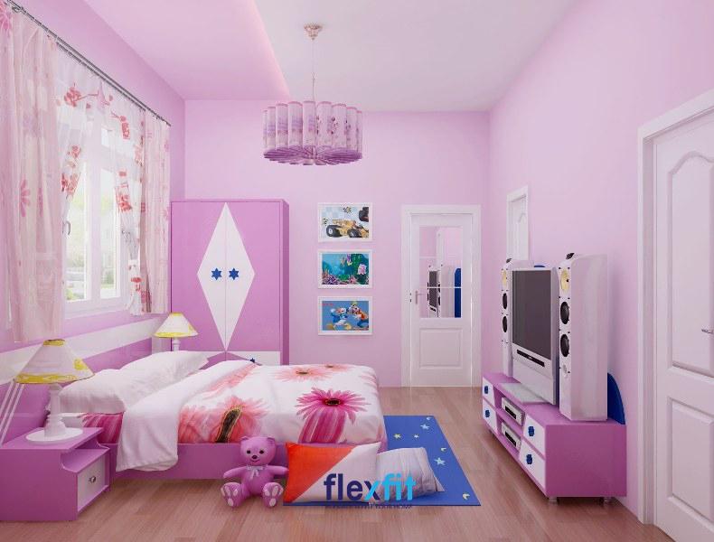 Màu tím pastel cũng là một ý tưởng thiết kế tuyệt vời cho những căn phòng bé gái.