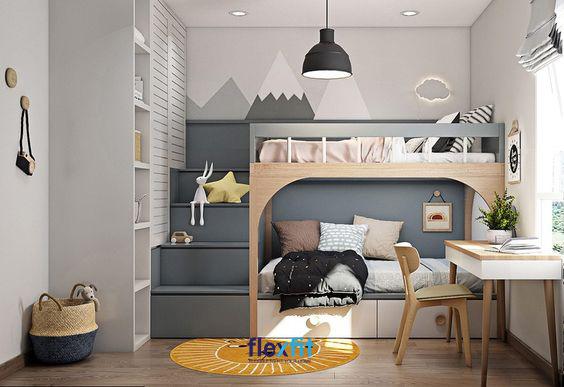 Thiết kế giường tầng đầy ấn tượng và đẹp mắt được kê sát mép tường giúp bạn tận dụng không gian một cách triệt để.