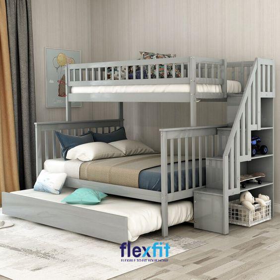 Sở hữu hộc chứa phía dưới rộng lớn, mẫu giường tầng này giúp bạn có thể dễ dàng tạo thêm một chỗ ngủ rộng rãi ở phía dưới vô cùng tiện lợi.