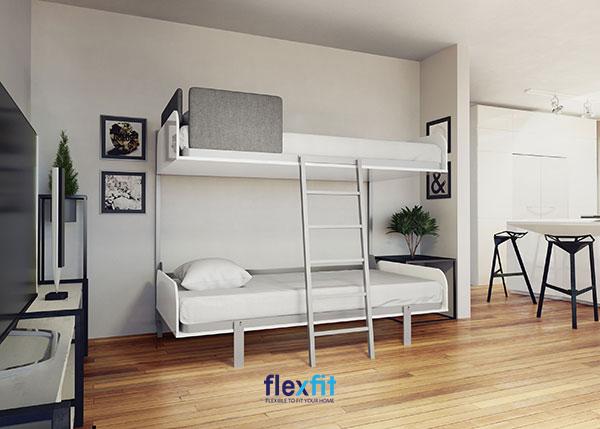 Mẫu thiết kế phòng ngủ giường tầng cho người lớn đơn giản, tinh tế, tiết kiệm không gian