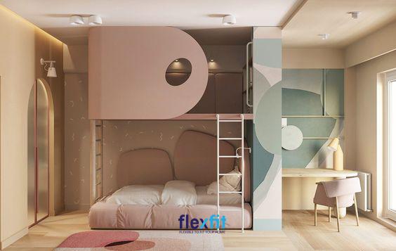 Mẫu giường tầng thu hút với thiết kế cánh cửa rất độc - lạ được hòa quyện với màu sơn tường mang lại vẻ đẹp vô cùng nổi bật, ấn tượng.
