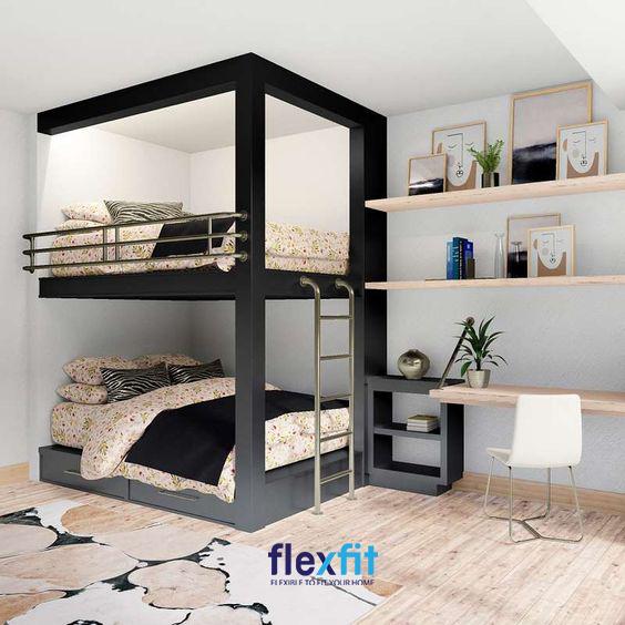 Những mẫu giường tầng được liên kết với bàn học, kệ sách mang lại một hệ thống hài hòa, đẹp mắt cho căn phòng.