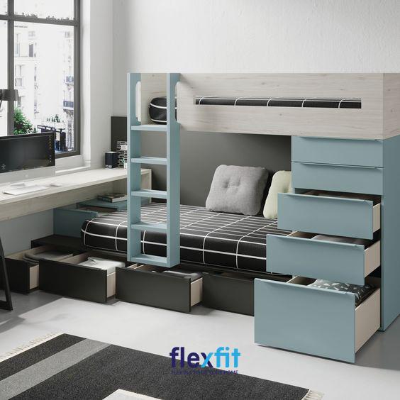 Giường tầng nối liền bàn học giúp bạn dễ dàng sử dụng và sáng tạo không gian sống một cách tiện lợi, linh động