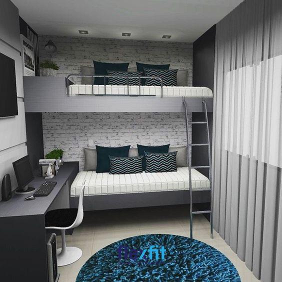 Mẫu giường tầng tuy đơn giản nhưng đồng bộ với bàn học, rèm cửa mang lại vẻ đẹp hài hòa cho căn phòng