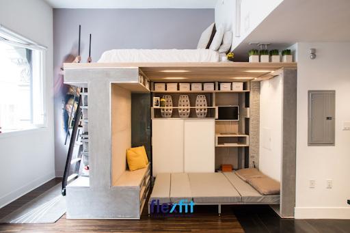 Thiết kế phòng ngủ giường tầng này mang lại sự mới lạ, độc đáo bởi bố trí trụ đỡ giường trên với giường dưới đa năng có ngăn để đồ