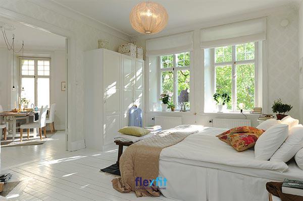 Gam màu trắng được sử dụng triệt để cho phong cách này tạo nên sự tinh tế và rộng rãi