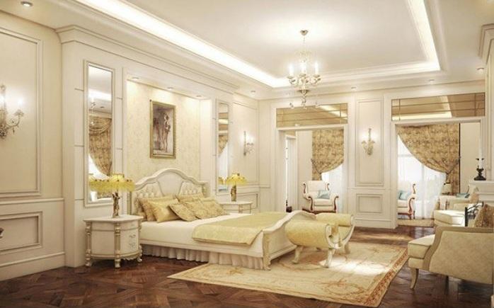 Không quá xa hoa lộng lẫy, phòng ngủ được thiết kế theo phong cách tân cổ điển được tiết chế ở mức vừa đủ tạo nên sự sang trọng và tinh tế