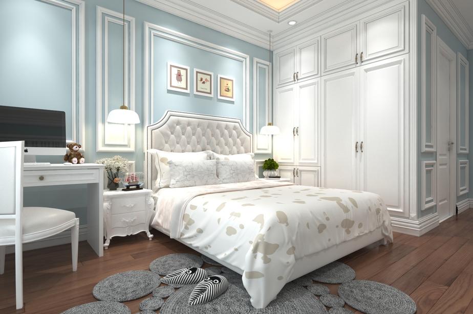 Thiết kế phòng ngủ master phong cách tân cổ điển với gam màu trắng - xanh ghi đầy trang nhã