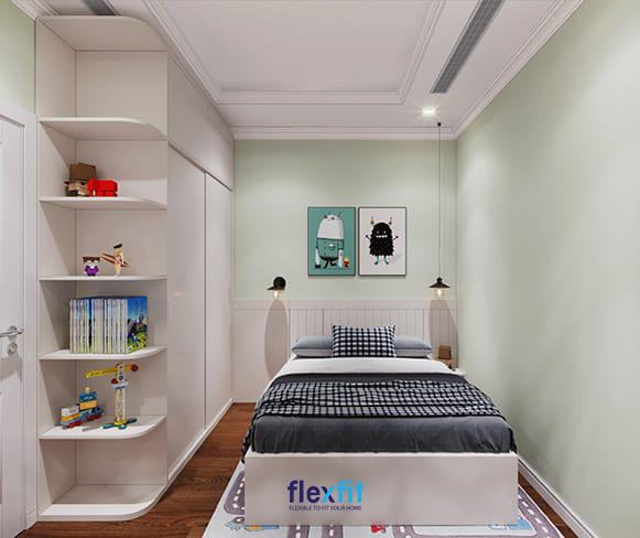 Mẫu nội thất phòng ngủ này gây ấn tượng bởi sắc xanh thanh lịch nhưng lại đi kèm với họa tiết dễ thương, nổi bật phù hợp với trẻ nhỏ nhà bạn.
