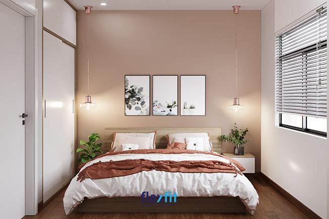 Mẫu nội thất phòng ngủ này có thiết kế tông màu hồng được lấy làm tông màu chủ đạo đem lại sự ấm áp, trẻ trung, tươi mới cho căn phòng. Mẫu thiết kế này rất phù hợp với những hộ gia đình trẻ