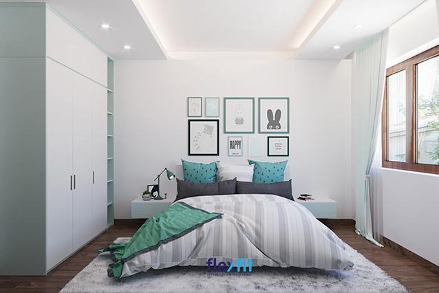 Mẫu nội thất phòng ngủ dành cho trẻ em này gây ấn tượng bởi tông màu xanh nhạt nhưng vẫn tạo được điểm nhấn nhờ họa tiết tinh nghịch, dễ thương và ấm áp
