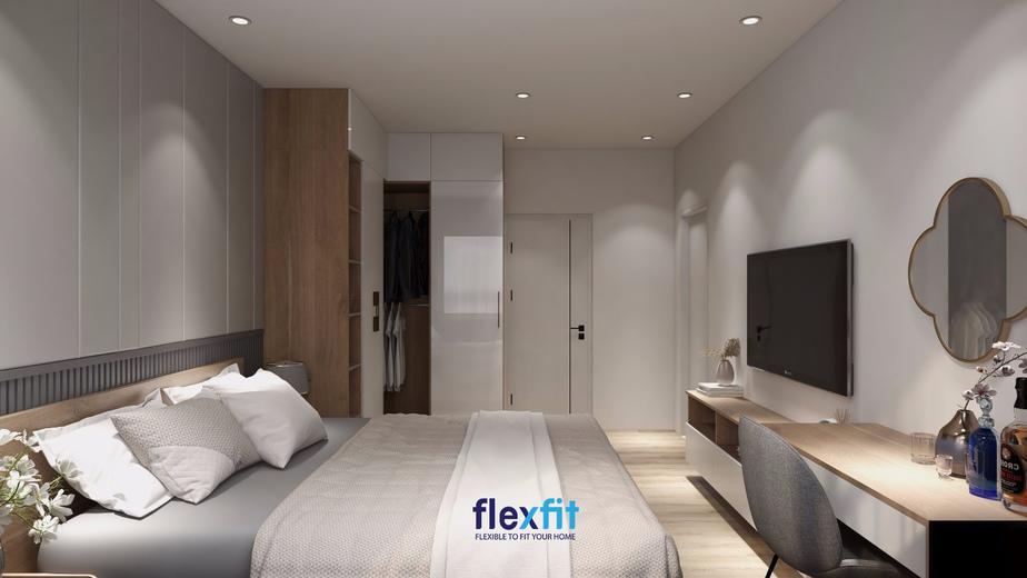 Gam màu ghi sáng làm chủ đạo từ sơn tường đến nội thất đem đến không gian hiện đại và tạo cảm giác thông thoáng hơn