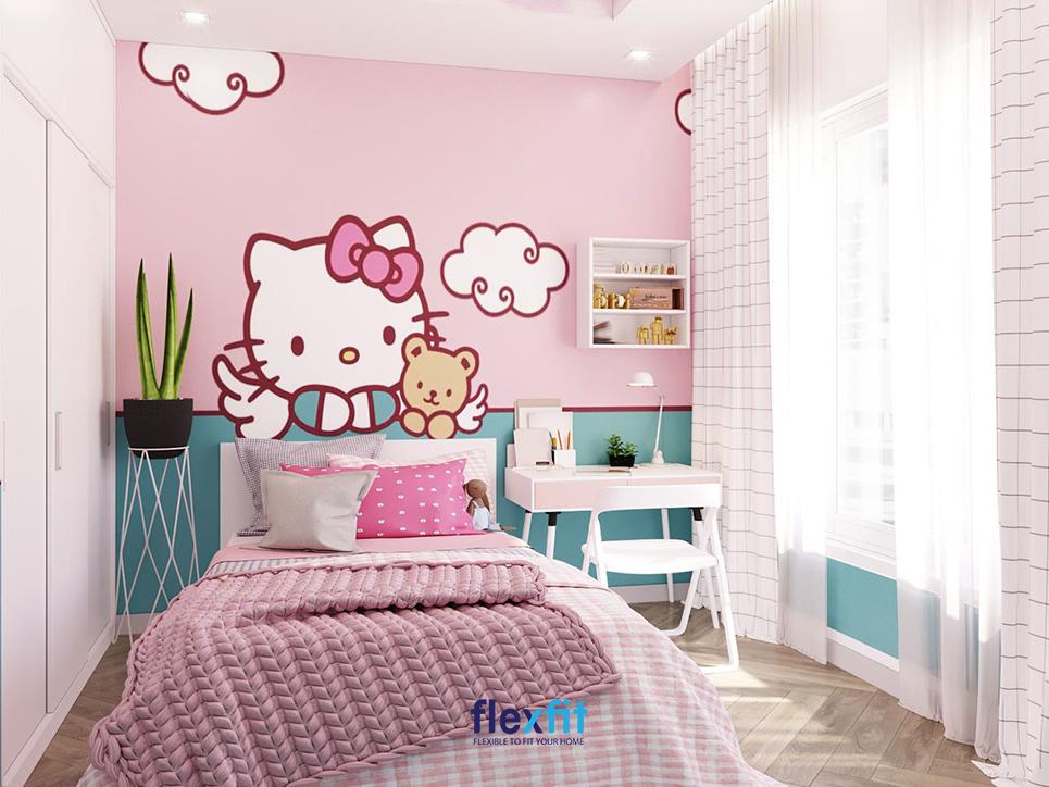 Đối với những căn phòng của trẻ nhỏ thì dù đơn giản nhưng bạn vẫn phải chú ý đến yếu tố màu sắc. Không cần trang trí quá nhiều đồ nội thất nhưng cần làm nổi bật căn phòng bằng các họa tiết trang trí trên tường.