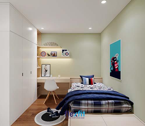 Căn phòng được bố trí nội thất một cách khoa học, ngăn nắp và vô cùng ấm áp.