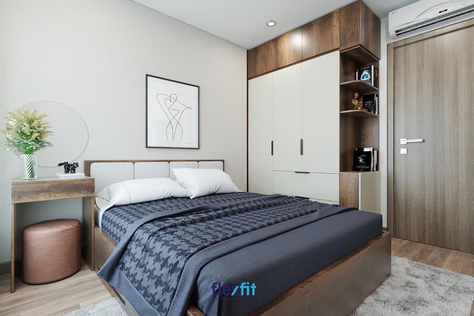 Với phần đệm màu xanh, phần giường màu nâu gỗ, chiếc giường này mang đến cho phòng ngủ một cảm giác rất độc đáo