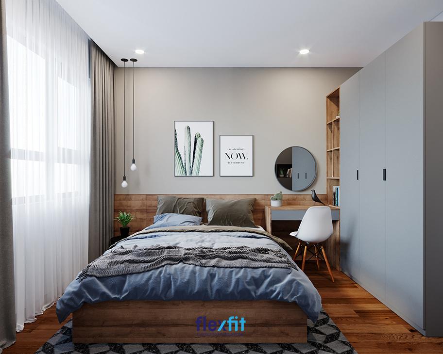 Đối với những thiết kế phòng ngủ tối giản, việc sử dụng các đồ nội thất đa năng: tủ quần áo có kệ trang trí, bàn trang điểm là một sự lựa chọn thông minh