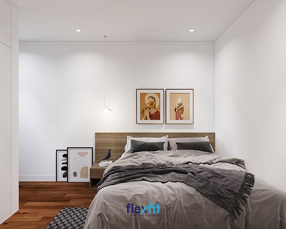 Một vài bức chân dung hay hoa lá cách điệu nghệ thuật treo nơi đầu giường và để gần tab đầu giường sẽ giúp phòng ngủ của bạn giàu tính nghệ thuật và thu hút hơn