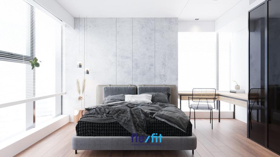 Phòng ngủ được thiết kế đơn giản nhưng vẫn vô cùng nổi bật nhờ việc sử dụng các gam màu nổi bật: trắng, đen, ghi