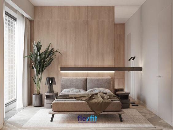 Căn phòng sử dụng tường ốp gỗ vô cùng sang trọng hòa quyện với màu sắc của cả căn phòng mang lại vẻ đẹp độc đáo, giản dị và ấm áp