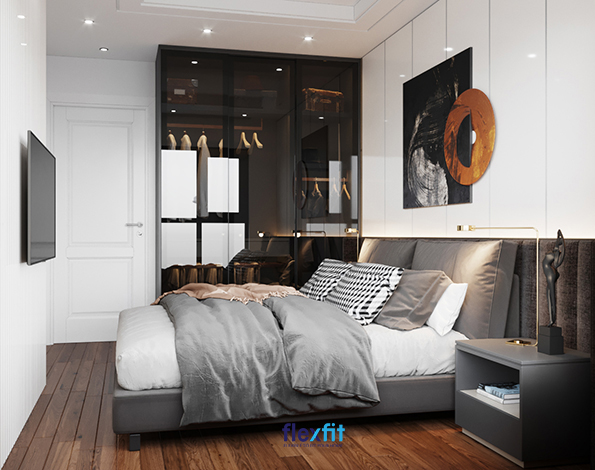 Căn phòng này chính là minh chứng cho việc chỉ cần lựa chọn và kết hợp khéo léo màu sắc của đồ nội thất đã giúp bạn tạo nên một không gian sống hiện đại, sang trọng. Hai mảng màu tưởng chừng đối lập trắng - ghi đậm lại giúp mang lại một không gian độc - lạ - ấn tượng.