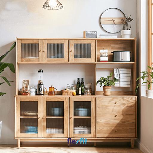 Tủ bếp đứng màu gỗ tự nhiên mang lại vẻ đẹp sang trọng, thời thượng cho căn bếp của mỗi gia đình.