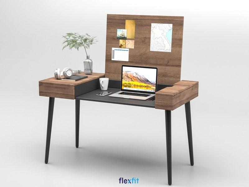 Mẫu bàn làm việc phong thủy tốt cho người mệnh Kim chất liệu gỗ công nghiệp với thiết kế âm bàn độc đáo cùng gam màu nâu gỗ trầm ấm.