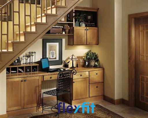 Mẫu bếp dưới cầu thang theo xu hướng hoài cổ đẹp ấn tượng