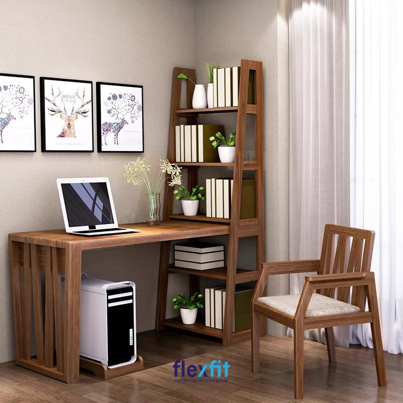 Bàn làm việc có kệ sách được làm bằng chất liệu gỗ tự nhiên bền chắc. Phần kệ sách được thiết kế với nhiều ngăn chứa tiện lợi