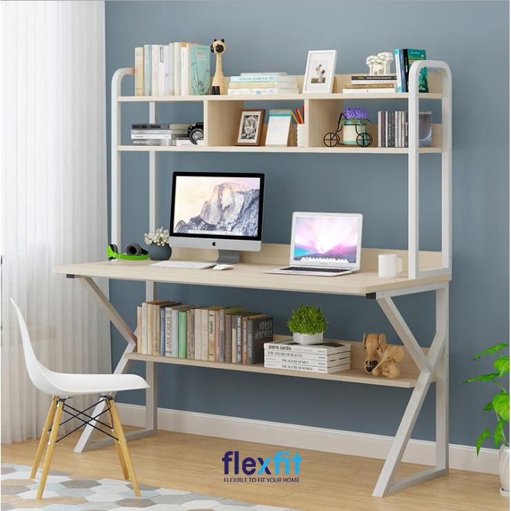 Các mẫu bàn làm việc có kệ sách thường được thiết kế đơn giản nhưng rất hiện đại và hút mắt, giúp bạn tiết kiệm không gian một cách hiệu quả.