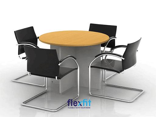 Ngoài mặt kính, mặt sắt… bàn làm việc hình tròn mặt gỗ được sử dụng rộng rãi mang lại cảm giác sang trọng.