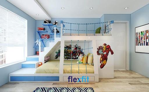 Không giống các thiết kế giường ngủ 2 tầng thông thường, mẫu giường này mang lại sự mới lạ nhờ thiết kế bậc thang ấn tượng, lạ mắt.