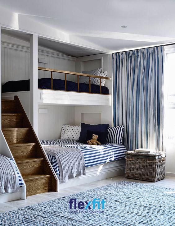 Sở hữu thiết kế bậc thang được làm bằng gỗ chắc chắn, thiết kế giường tầng độc đáo giúp bé dễ dàng di chuyển và sử dụng.