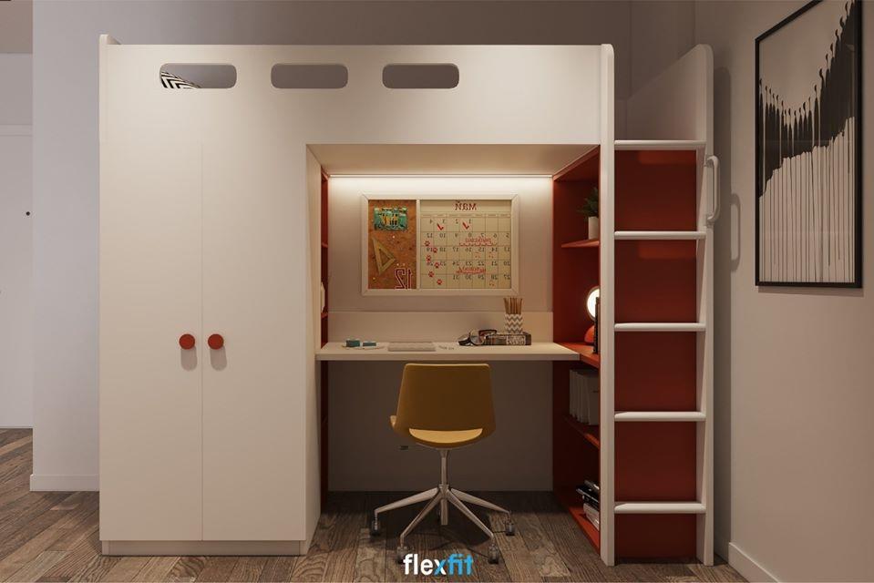 Cả không gian căn phòng thu bé lại với chiếc giường tầng đa năng, mang lại sự tiện lợi nhất khi sử dụng.