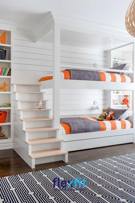 Nổi bật với thiết kế trắng trang nhã, mẫu giường ngủ 2 tầng này không chỉ mang đến cho bạn sự tiện lợi mà còn trở thành điểm nhấn nổi bật cho không gian.
