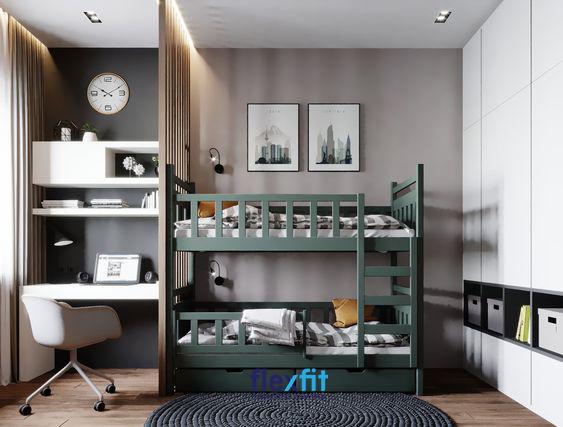 Với những không gian có diện tích hạn chế, những mẫu giường tầng đơn giản, nhỏ gọn như thế này quả là một giải pháp tuyệt vời.