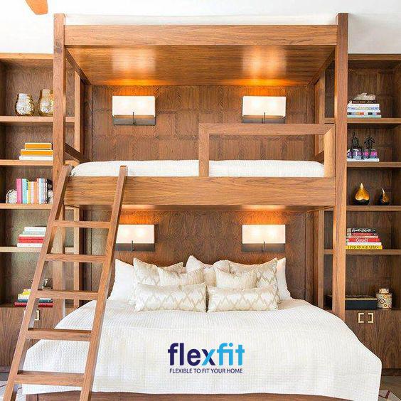 Sở hữu màu gỗ tự nhiên cùng các đường vân cuốn hút, mẫu giường tầng này giúp mang lại vẻ đẹp tiện nghi cho không gian nghỉ ngơi của bạn.