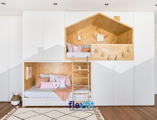 Phá cách trong thiết kế giúp chiếc giường trở thành một ngôi nhà nhỏ. Đây chắc hẳn là món quà ý nghĩa bạn dành tặng cho không gian nghỉ ngơi của cô công chúa nhỏ.