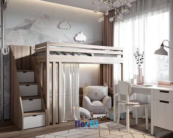 Giường tầng được kết hợp với một không gian vô cùng mộng mơ, nữ tính mang lại một không gian nghỉ ngơi tuyệt vời.