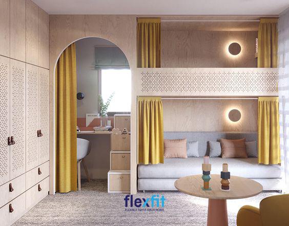 Với các họa tiết hoa văn nổi bật, mẫu giường 2 tầng thấp này mang lại cho căn phòng vẻ đẹp mộng mơ, nhẹ nhàng đầy nữ tính.
