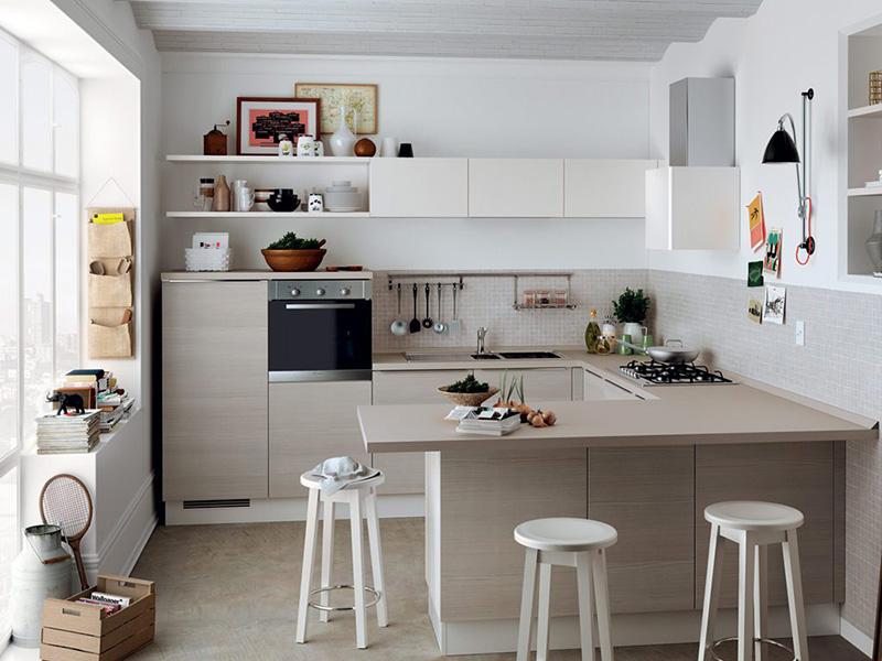 Phòng bếp nhỏ chữ U hiện đại