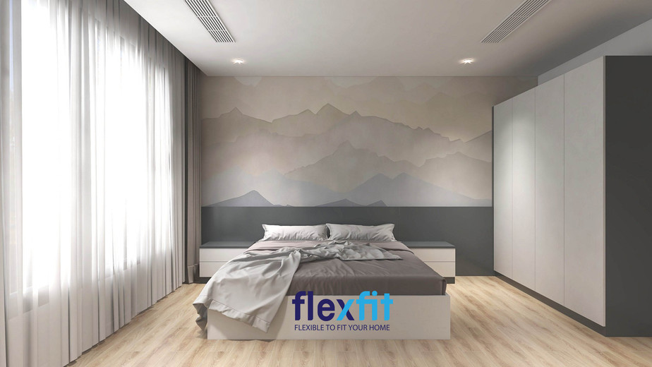 Kết hợp với các tone màu lạnh hay trung tính. Mẫu phòng ngủ phong cách Châu Âu này với gam màu xám rất dễ kết hợp nội thất, tăng tính đồng bộ cho cả căn phòng