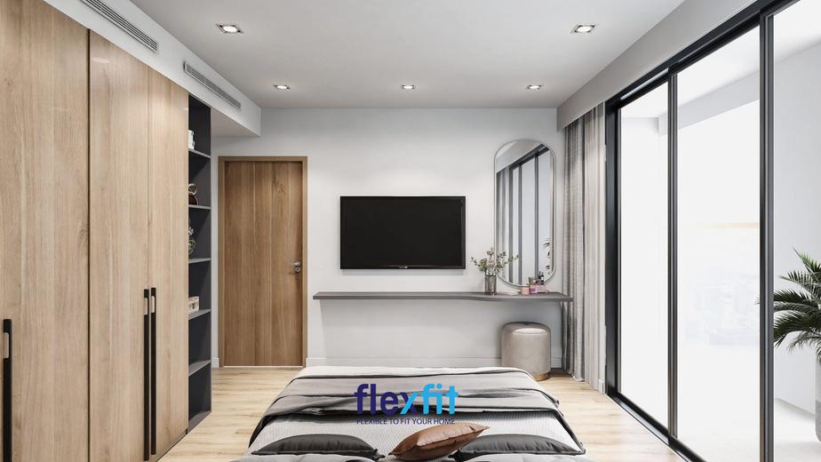 Màu nâu sáng kết hợp với xám, với 2 chức năng vừa là tủ quần áo, vừa là tủ để đồ, tài liệu, góp phần tiện lợi cho căn phòng