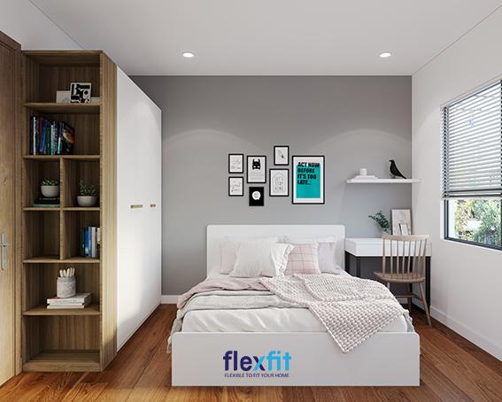Mẫu phòng ngủ này với dấu ấn chính là sự kết hợp, vừa là bàn trang điểm, vừa là bàn học, tiết kiệm không gian cho cả căn phòng, tiện lợi khi sinh hoạt và dọn dẹp