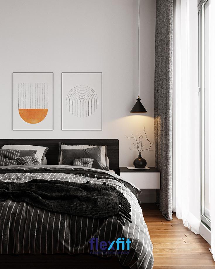Tab đầu giường treo tường hoặc giấu chân là một trong những mẫu nội thất phong cách Châu Âu đang làm mưa làm gió gần đây.
