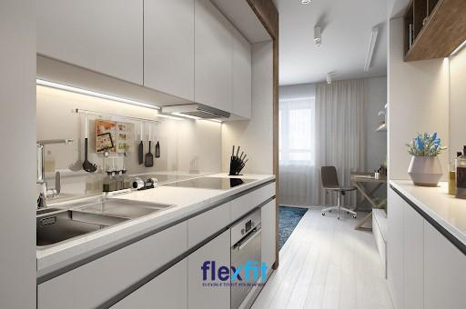 Căn bếp nhỏ với diện tích vài m2 thiết kế song song tận dụng không gian tối đa, gọn gàng và tiện nghi