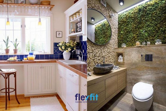 Thiết kế phòng bếp gần nhà vệ sinh cho nhà ống cần đặc biệt lưu ý về hướng cửa của chúng không được đối diện nhau và có sự phân tách độc lập