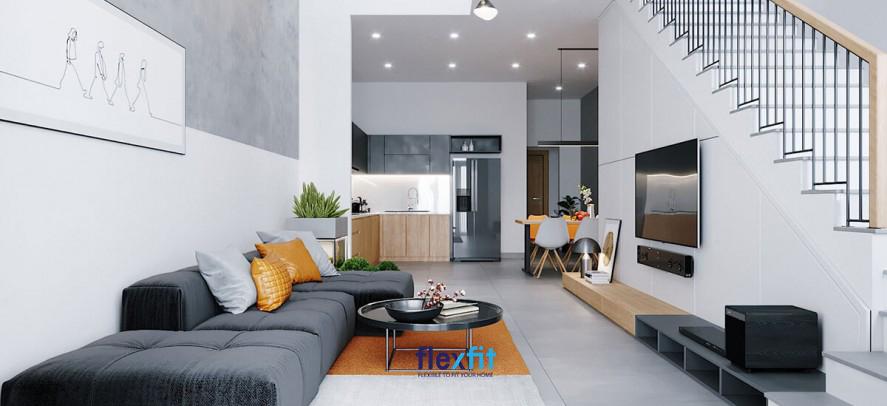Với nhà ống, thiết kế phòng khách liền bếp là ý tưởng không tồi giúp tiết kiệm diện tích mà vẫn đảm bảo tính thẩm mỹ như mẫu thiết kế này
