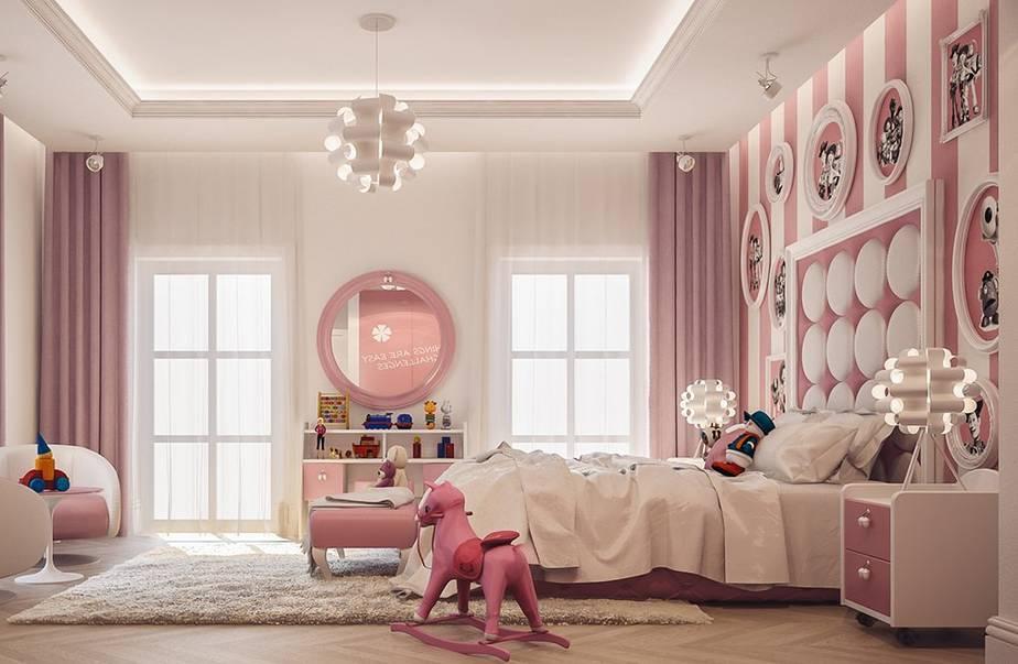 Tông màu trắng và hồng rất phù hợp cho phòng các bé gái