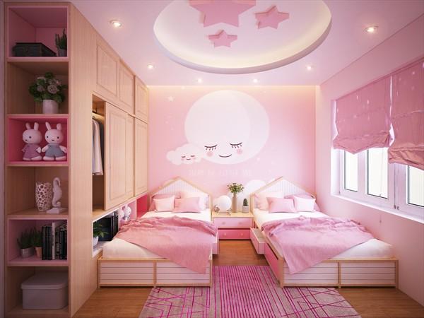Phòng ngủ màu hồng với các vật trang trí như gấu bông, tranh dán tường dễ thương